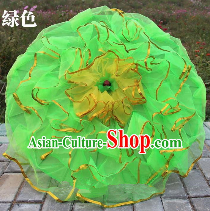 Top Grade Chinese Folk Dance Umbrella Yangko Dance Classical Dance Green Silk Umbrella for Women
