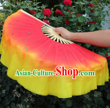 Chinese Handmade Folk Dance Folding Fans Yangko Dance Red and Yellow Silk Ribbon Fan for Women