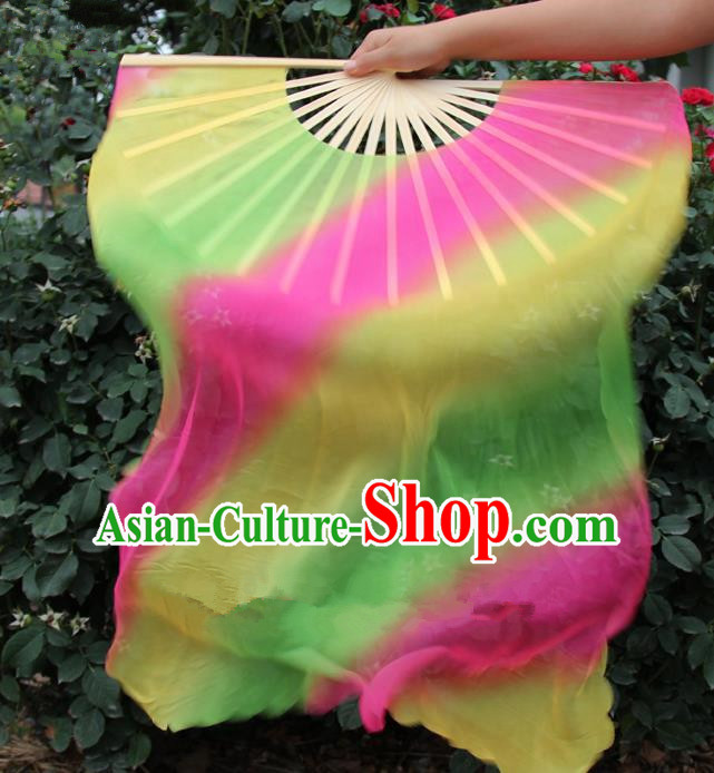 Chinese Handmade Folk Dance Folding Fans Yangko Dance Gradient Silk Ribbon Fan for Women