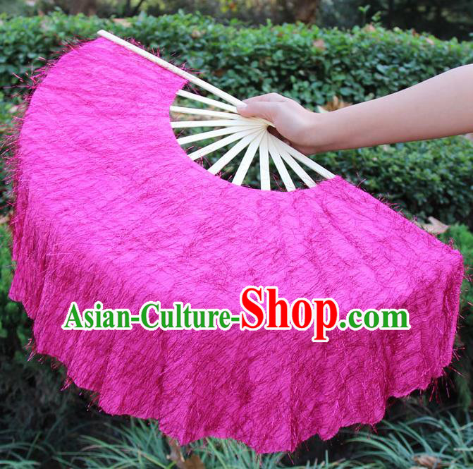 Chinese Handmade Folk Dance Rosy Folding Fans Yangko Dance Classical Dance Fans for Women