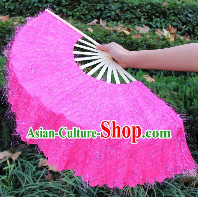 Chinese Handmade Folk Dance Pink Folding Fans Yangko Dance Classical Dance Fans for Women