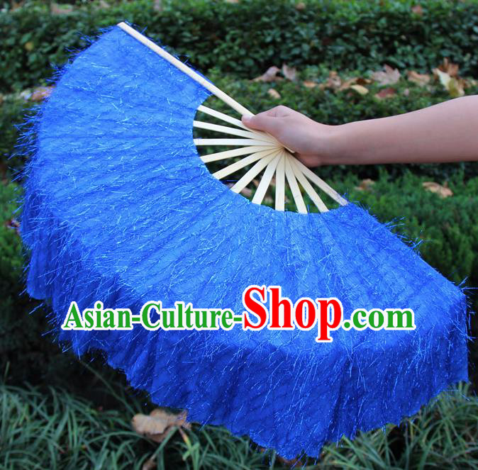 Chinese Handmade Folk Dance Royalblue Folding Fans Yangko Dance Classical Dance Fans for Women