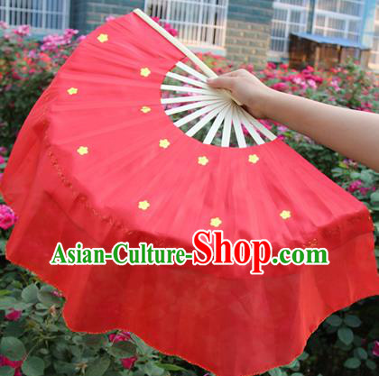 Chinese Handmade Folk Dance Red Silk Folding Fans Yangko Dance Classical Dance Fans for Women