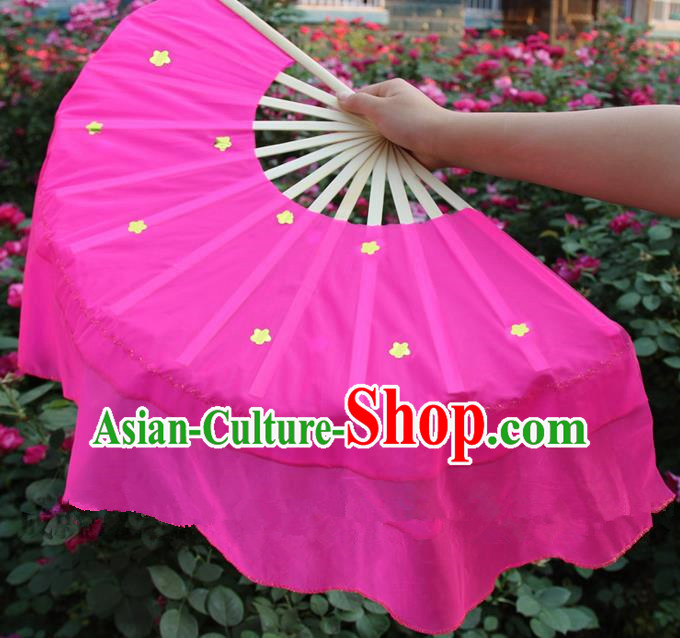 Chinese Handmade Folk Dance Rosy Silk Folding Fans Yangko Dance Classical Dance Fans for Women