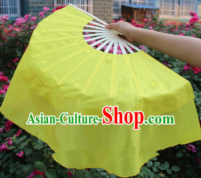 Chinese Handmade Folk Dance Yellow Silk Folding Fans Yangko Dance Classical Dance Fans for Women