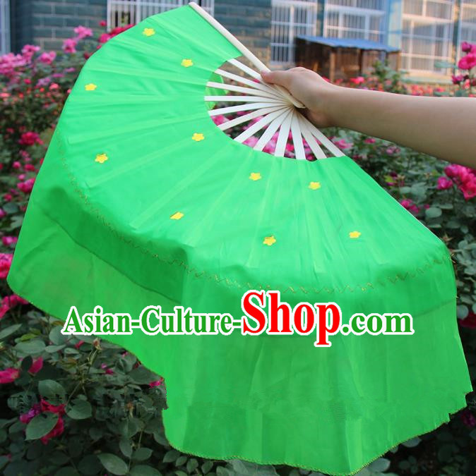 Chinese Handmade Folk Dance Green Silk Folding Fans Yangko Dance Classical Dance Fans for Women