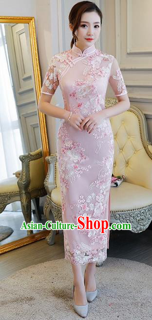 Chinese Traditional Elegant Cheongsam Embroidery Pink Qipao Dress National Costume for Women