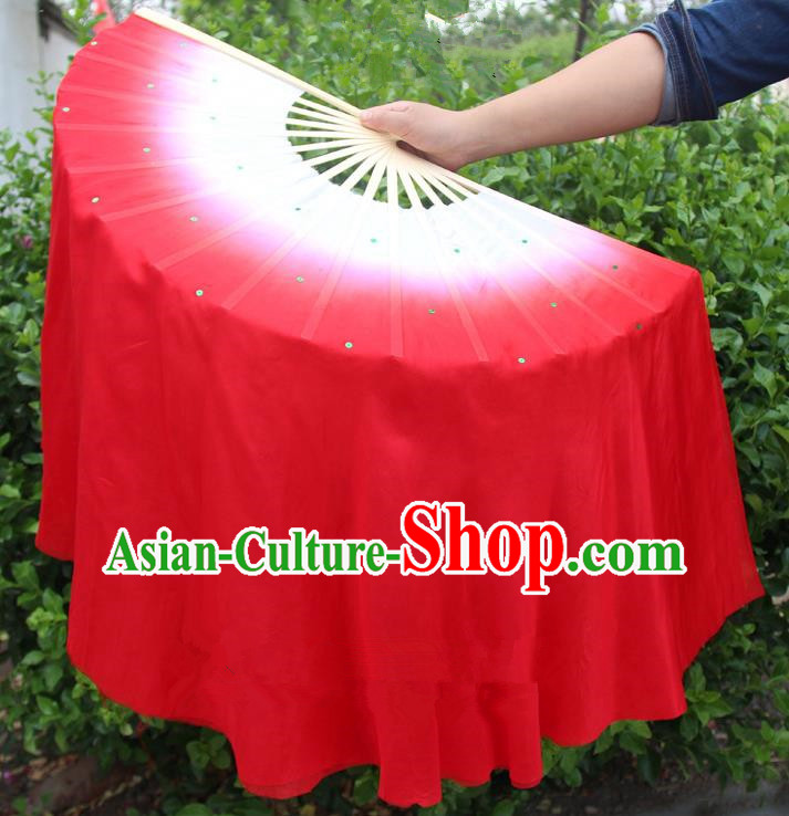 Chinese Handmade Folk Dance Red Ribbons Folding Fans Yangko Dance Classical Dance Fans for Women