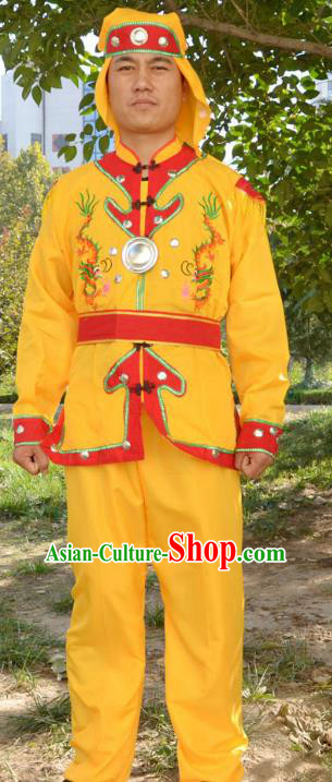 Traditional Chinese Yangge Fan Dance Costume Folk Dance Drum Dance Yangko Yellow Clothing for Men
