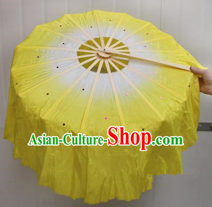 Chinese Handmade Folk Dance Yellow Lotus Leaf Folding Fans Yangko Dance Classical Dance Fans for Women