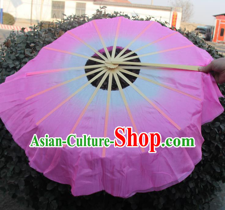 Chinese Handmade Folk Dance Pink Lotus Leaf Folding Fans Yangko Dance Classical Dance Fans for Women