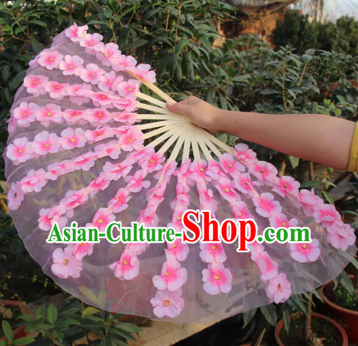 Chinese Handmade Folk Dance Folding Fans Yangko Dance Classical Dance Peach Blossom Fans for Women