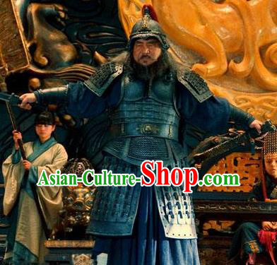 Ancient Chinese Han Dynasty General Gai Xun Replica Costume Helmet and Armour for Men