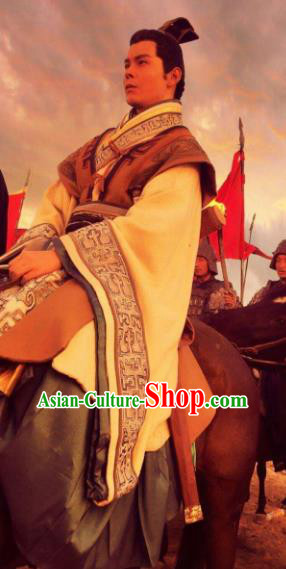 Chinese Ancient Han Dynasty Military Officer Zhao Ponu Replica Costume for Men