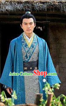 Chinese Ancient Han Dynasty Swordsman Military Officer Wei Qing Replica Costume for Men