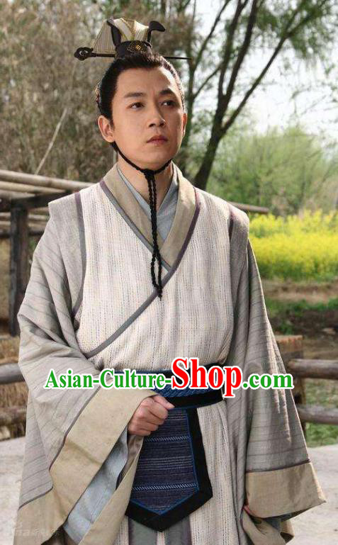 Ancient Chinese Han Dynasty Scholar Nobility Childe Jiao Zhongqing Replica Costume for Men