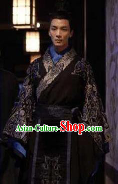 Ancient Chinese Han Dynasty Marquess Haihun Liu He Replica Costume for Men