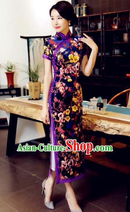 Chinese Traditional Elegant Purple Pleuche Cheongsam National Costume Qipao Dress for Women