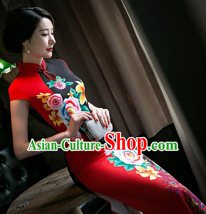 Chinese Traditional Elegant Wedding Cheongsam National Costume Red Silk Qipao Dress for Women