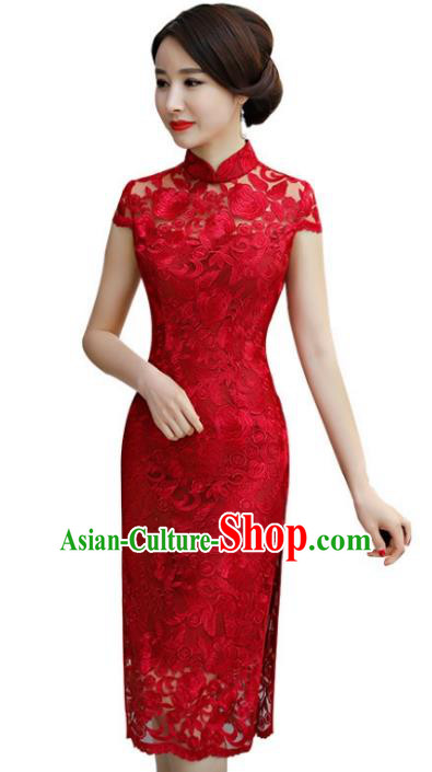 Chinese Traditional Elegant Red Lace Cheongsam National Costume Wedding Qipao Dress for Women