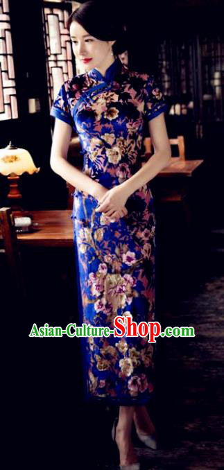 Chinese Traditional Elegant Blue Pleuche Cheongsam National Costume Qipao Dress for Women