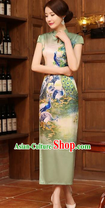 Chinese Traditional Elegant Retro Printing Peacock Cheongsam National Costume Light Green Qipao Dress for Women