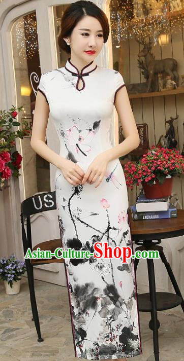 Chinese Traditional Elegant Cheongsam National Costume Ink Painting Lotus Qipao Dress for Women