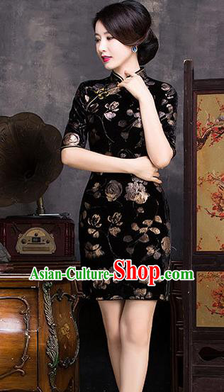 Chinese Traditional Elegant Cheongsam National Costume Black Pleuche Short Qipao Dress for Women