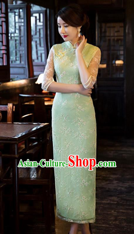Chinese Traditional Elegant Cheongsam National Costume Green Embroidered Qipao Dress for Women