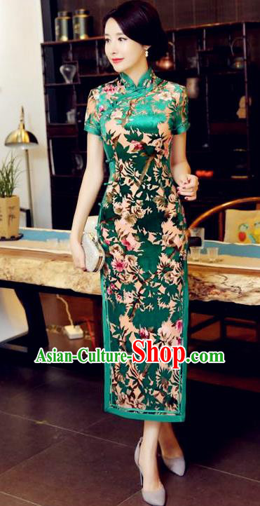 Chinese Traditional Elegant Green Pleuche Cheongsam National Costume Long Qipao Dress for Women