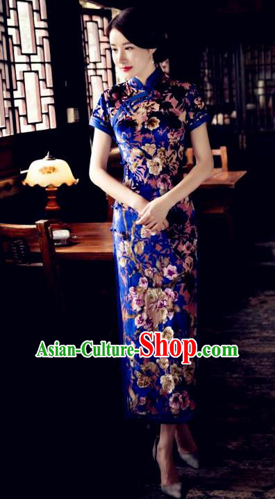 Chinese Traditional Elegant Royalblue Pleuche Cheongsam National Costume Long Qipao Dress for Women