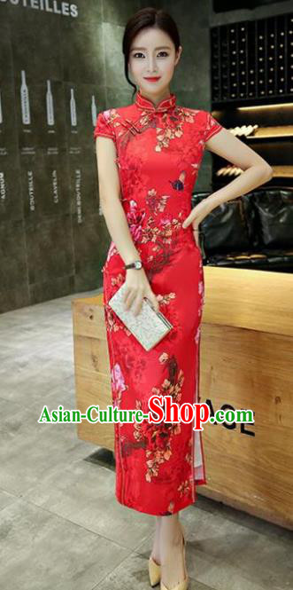 Chinese Traditional Elegant Printing Red Silk Cheongsam National Costume Long Qipao Dress for Women