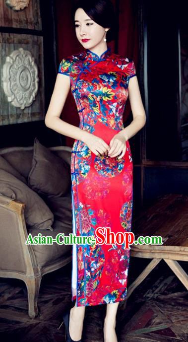 Chinese Traditional Elegant Wedding Silk Cheongsam National Costume Printing Flowers Red Qipao Dress for Women
