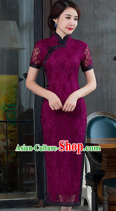 Top Grade Chinese National Costume Elegant Slim Cheongsam Tang Suit Printing Purple Lace Qipao Dress for Women