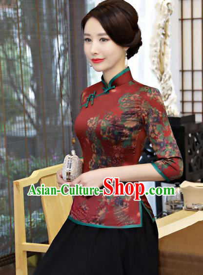 Chinese Traditional Elegant Cheongsam Dark Red Silk Blouse National Costume Tang Suit Qipao Shirts for Women