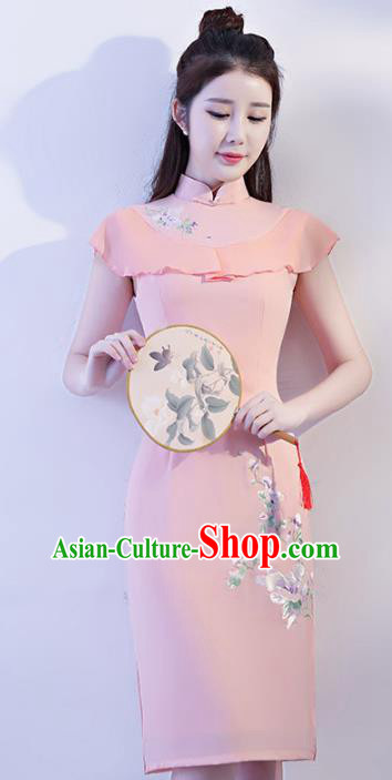 Chinese Traditional Elegant Stand Collar Cheongsam National Costume Pink Qipao Dress for Women