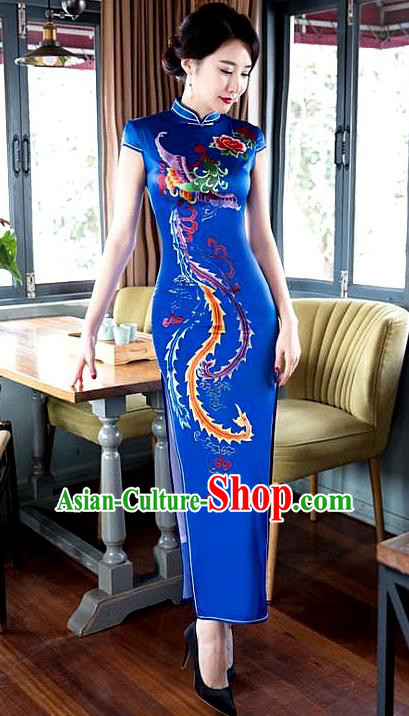 Chinese Traditional Elegant Cheongsam Wedding Blue Satin Printing Phoenix Qipao National Costume for Women
