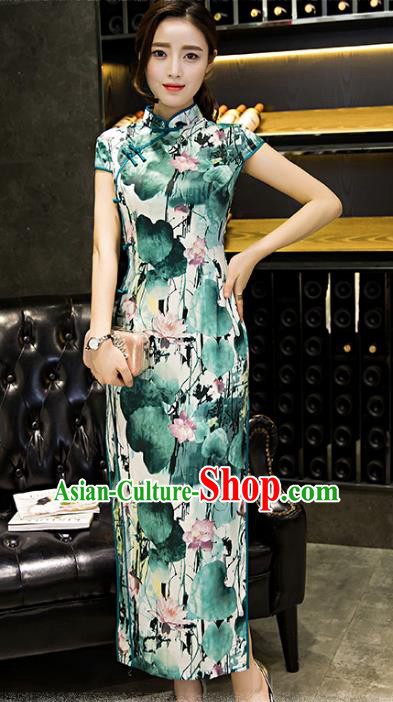 Chinese Traditional National Costume Elegant Painting Lotus Green Cheongsam Qipao Dress for Women