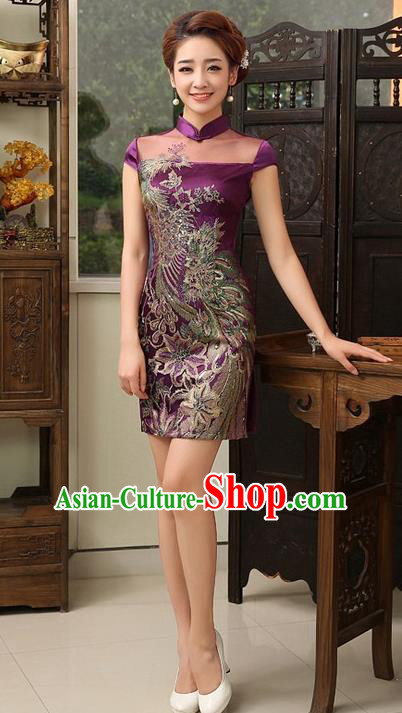 Top Grade Chinese National Costume Elegant Short Cheongsam Tang Suit Purple Qipao Dress for Women