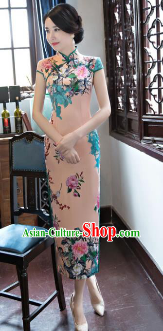 Top Grade Chinese National Costume Elegant Silk Cheongsam Tang Suit Qipao Dress for Women