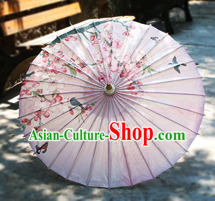 Chinese Handmade Paper Umbrella Folk Dance Pink Oil-paper Umbrella Yangko Umbrella