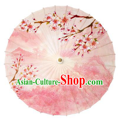 Chinese Handmade Paper Umbrella Folk Dance Printing Peach Blossom Oil-paper Umbrella Yangko Umbrella