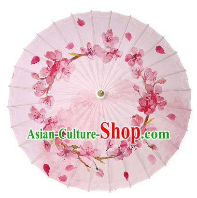 Chinese Handmade Paper Umbrella Folk Dance Printing Peach Blossom Pink Oil-paper Umbrella Yangko Umbrella