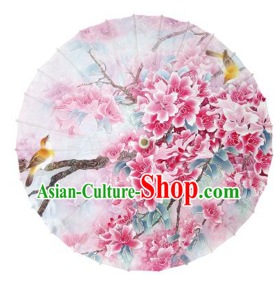 Chinese Handmade Paper Umbrella Folk Dance Hand Painting Peach Blossom Oil-paper Umbrella Yangko Umbrella