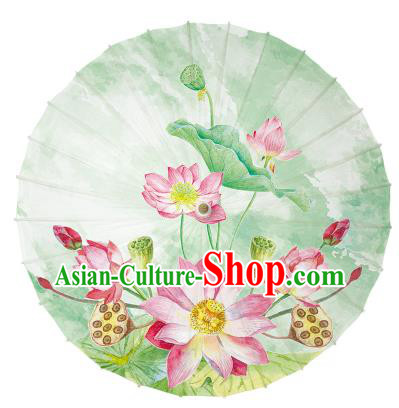 Chinese Handmade Paper Umbrella Folk Dance Hand Printing Lotus Green Oil-paper Umbrella Yangko Umbrella