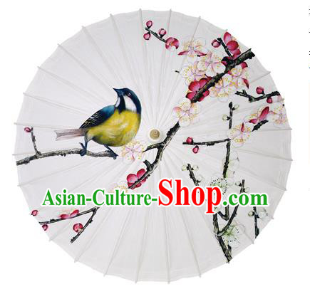 Chinese Handmade Paper Umbrella Folk Dance Printing Plum Blossom Birds Oil-paper Umbrella Yangko Umbrella