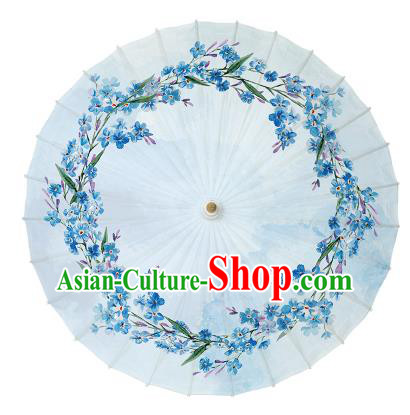 Chinese Handmade Paper Umbrella Folk Dance Printing Blue Flowers Oil-paper Umbrella Yangko Umbrella