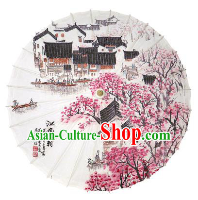 Chinese Handmade Paper Umbrella Folk Dance Painting Jiangnan Spring Scenery Oil-paper Umbrella Yangko Umbrella