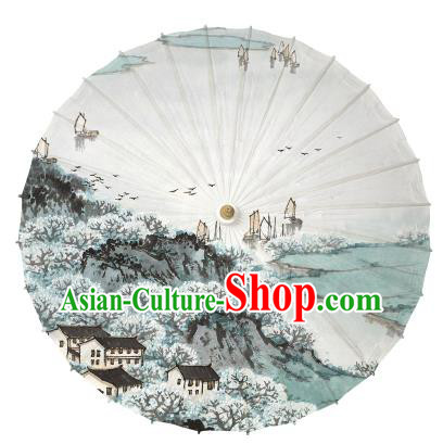 Chinese Handmade Paper Umbrella Folk Dance Ink Painting Jiangnan Scenery Oil-paper Umbrella Yangko Umbrella