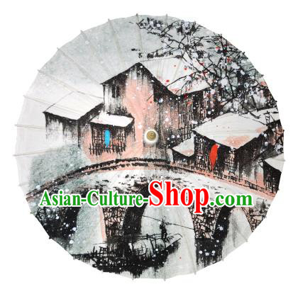 Chinese Handmade Paper Umbrella Folk Dance Painting Jiangnan Winter Scenery Oil-paper Umbrella Yangko Umbrella
